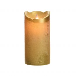 Christmas Flame Pillar Candle Waving Gold Rustic Finish 15cm  - Battery Operated & Timer