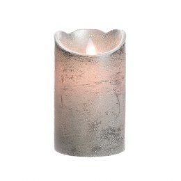 Christmas Flame Pillar Candle Waving Silver Rustic Finish 12.5cm  - Battery Operated & Timer