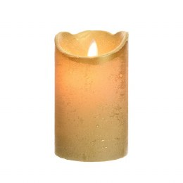Christmas Flame Pillar Candle Waving Rustic Finish 12.5cm  - Battery Operated & Timer