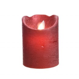 Christmas Flame Pillar Candle Waving Red Rustic Finish 10cm  - Battery Operated & Timer