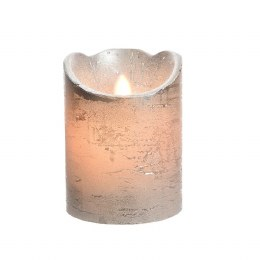 Christmas Flame Pillar Candle Waving Silver Rustic Finish 10cm  - Battery Operated & Timer