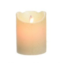 Battery Operated Real Wax Christmas Candle With Flicker Effect Warm White 10cm With Timer