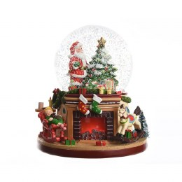Christmas LED Snow Globe with Fireplace Battery Operated