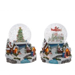 Christmas Snowglobe Village Scene With Music 19.5cm - Battery Operated