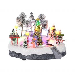 Christmas Village Scene LED Moving Ice Rink 10L Multi 23x26x20cm