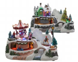 Christmas LED Winter Village Scene Revolving Carrousel or Santa