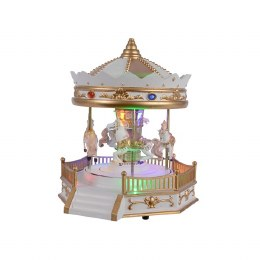 Christmas Carousel With Horses 19 x 21 x 24cm Battery Operated