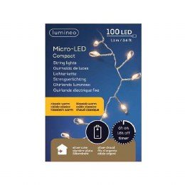 100 Warm White Micro LED Lights Sliver Wire 110cm Long