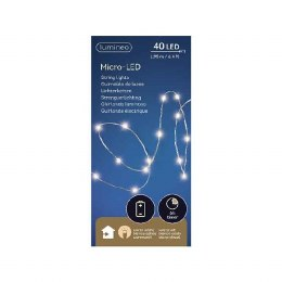 Battery Operated 40 Micro Lights Christmas Lights String Warm White Silver Wire 195cm Long