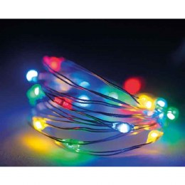 Battery Operated 40 Micro Lights Christmas Lights String Multi Coloured Silver Wire 195cm Long