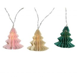 Christmas Decoration LED Paper Tree String Lights in Green Pink and White