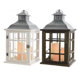 Battery Operated Christmas Lantern Wooden With Candles 24 x 24 x 42cm