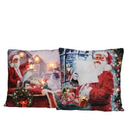 Christmas Cushion with LED Lights Santa 45x45cm - Battery Operated