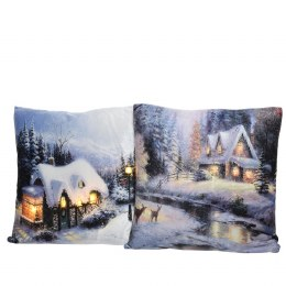 Christmas Cushion Village Scene LED Lights Warm White 45x45cm