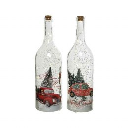 Christmas Glass Bottle with a Car Pick-up Scene with Music and Snowing Function