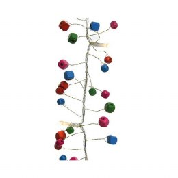 Christmas Garland with Wooden Beads and 16 Warm White LED Lights 150cm - Battery Operated