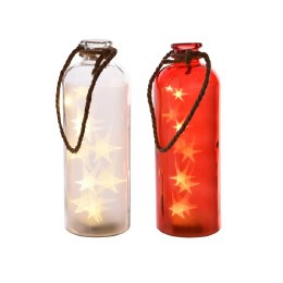 Christmas Glass Bottle With 10 Warm White Lights 11x31cm Battery Operated