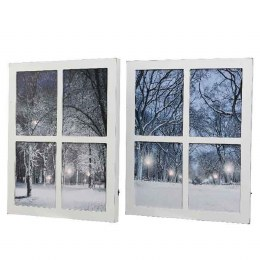 Christmas Window Canvas Winter Scene with Fiber Optic Lights 37x50cm