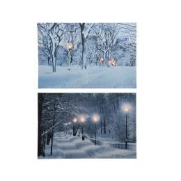 Christmas Canvas LED Snow Forest Snow Path 60x40cm