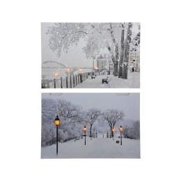 Christmas Canvas City Scene with Fiber Optic Lights 57x37cm