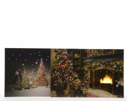 Christmas Canvas Fireplace or Snowy Winter scene 40cmx60cm Fiber Optic