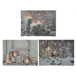 Chrismas Canvas Candle Scenery With Flicker Lights 28x38cm