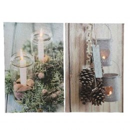 Christmas Canvas Candle Scenery With Flicker Lights 38x58cm