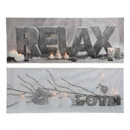 Christmas Canvas Candle Scenery With Flicker Lights 38x98cm
