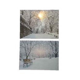 Christmas Canvas Winter Scene With Fiber Optic Lights 58x78cm