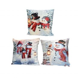Christmas Cushion with LED Lights Snowman Image 45x45cm - Battery Operated