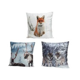 Christmas Cushion with LED Lights Animal Image 45x45cm - Battery Operated