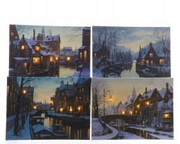 Christmas Canvas City Scene with LED Lights 30cm x 40cm