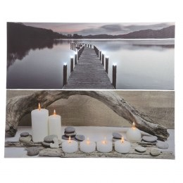 Christmas Canvas Lake with Candles Scene With Flicker Lights 40x100cm