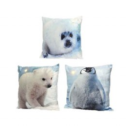 Christmas Cushion with LED Lights Polar Animal Image 45x45cm - Battery Operated