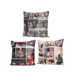 Christmas Cushion with LED Lights with Collage of Images 45x45cm - Battery Operated