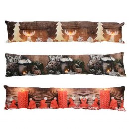 Christmas Cushion Door Stopper with LED Lights With Collage of Images 83x18cm - Battery Operated