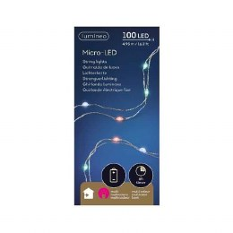 Battery Operated 100 Micro Lights Christmas Lights String Multi Coloured  Silver Wire 495cm Long