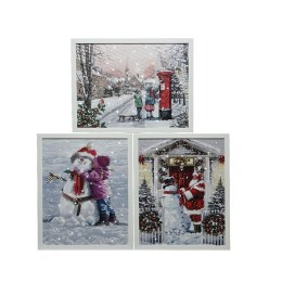 Christmas Canvas Winter Snow Scene With 3 LED Lights 38 x 48cm Fiber Optic