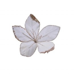 Christmas Fiber Optic White Velvet Flower with Glitter and Snow Finish 20 x 15cm - Battery Operated