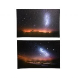 Christmas Canvas Night Sky and Galaxy Scene 38 x 58cm Fiber Optic