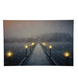 Christmas Canvas Winter Bridge Scene 38 x 58cm Fiber Optic