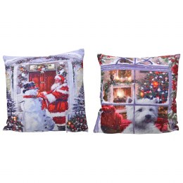 Christmas Cushion with LED Lights Santa or Dog 45 x 45cm - Battery Operated