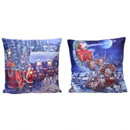 Christmas Cushion with LED Lights Santa Scene 45x45cm - Battery Operated