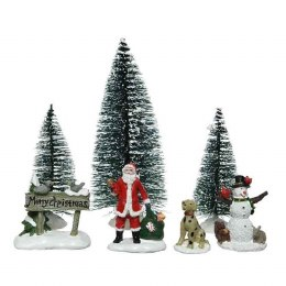 Christmas Decoration Accessories of Santa or Snowman Dog and Trees