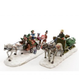 Christmas Village Scene Characters Horse and Carriage Sleigh