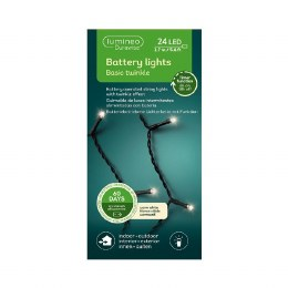 Durawise 24 Warm White Battery Operated Christmas Lights With Multi Function & Timer 1.7m