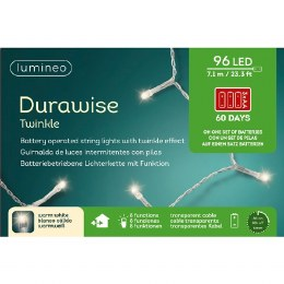 Durawise 96 Warm White Battery Operated Christmas Lights With Multi Function & Timer With Transparent Cable