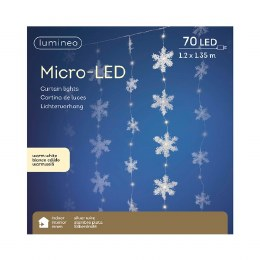Snowflake Curtain With 70 Micro LED Warm White Lights 120cm x 150cm