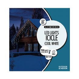 900 Icicle Twinkle Cool White Lights 3m with Timer