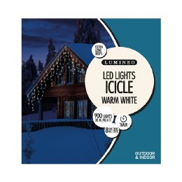 900 Icicle Twinkle Warm White Lights 3m with Timer